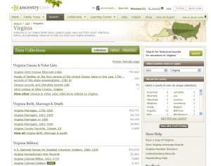 Ancestry Place Page for Virginia