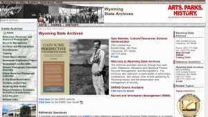 Wyoming State Archives website